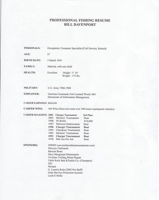 bill s resume